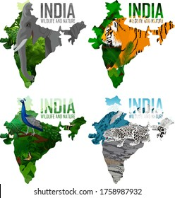 vector India map with indian elephant,  male peacock peafowl,  tiger and  snow leopard