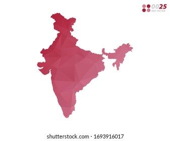 Vector of India map red polygon triangle mosaic with white background. style gradient.