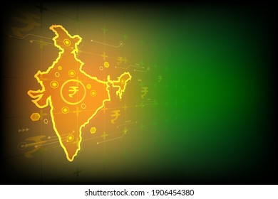 Vector India map with rupee currency and circuit board on orange green vintage screen for digital technology background