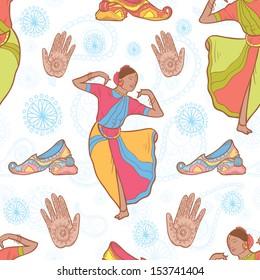 Vector Indian dancer girl seamless pattern