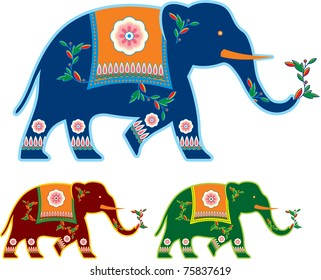 Vector Indian Decorated Elephant