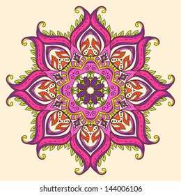 Vector Indian Decorative Lotus. A full-blown Flower of Life