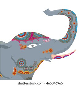 vector indian elephant with color pattern. india travel background