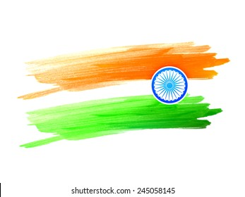 vector indian flag design made with color strokes on a white background