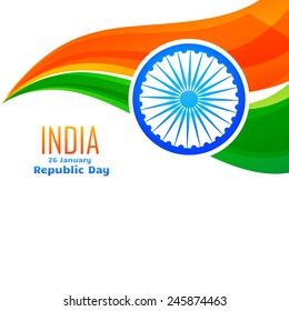 vector indian flag design in wave style with space for your text