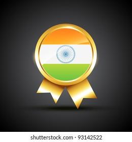 vector indian flag label illustration