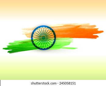 vector indian flag made with color strokes in tricolor background illustration