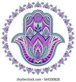 Vector Indian hamsa hand symbol. Multicolor tribal ornamental talisman. Ethnic hand drawn design. Boho illustration