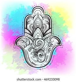 Vector Indian hand drawn hamsa symbol on watercolor background. Indian, Buddhism, Spiritual motifs. Tattoo, yoga, spirituality
