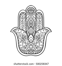 Vector Indian hand drawn hamsa symbol with ethnic ornaments. Outline drawing.