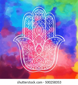 Vector Indian hand drawn hamsa symbol with ethnic ornaments. White on black background