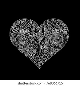 Vector indian henna design for t-shirt or web.White lines on the black background.Heart outline Mehndi design, Indian Henna tattoo. Hand-Drawn Heart Henna (mehndi) Paisley Doodle Vector Illustration.