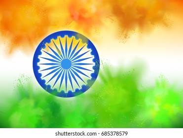 Vector Indian Independence Day horizontal background with colorful powder paint clouds in colors of Indian flag, Ashoka wheel and sample titles