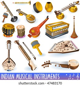 vector Indian music instrument icons