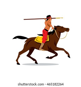 Vector Indian on horseback Cartoon Illustration. Rider preparing to throw javelin. Unusual Logo template isolated on a white background