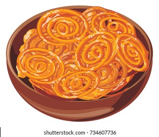 Vector of Indian sweet called Jalebi, Jilbi or imarati served in a wooden bowl