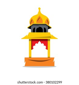 Vector Indian Temple with arch Cartoon Illustration. The building in Indian style. Branding Identity Corporate Logo isolated on a white background