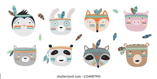 Vector indian tribal animals faces collection. Doodle illustration. Friendship day, Valentine's, anniversary, birthday, children's or teenager party