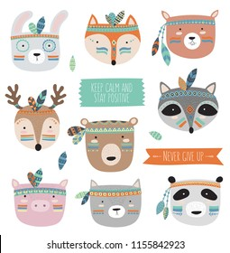 Vector indian tribal animals faces collection with motivational slogan. Doodle illustration. Friendship day, Valentine's, anniversary, birthday, children's or teenager party