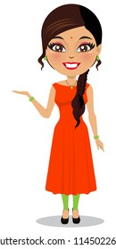 A vector of an Indian woman in a salwar kameez isolated on white.