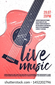 Vector Indie Rock Live Music Poster Template With Acoustic Guitar. Festival Pop Punk Design.