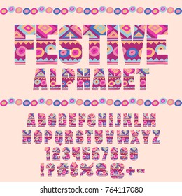 Vector indie style bright pattern Alphabet set. Festive motley Letters, beautiful Numbers and Symbols