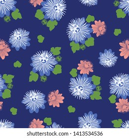 Vector indigo blue seamless pattern with leaves and wild flower. Suitable for textile, gift wrap and wallpaper.