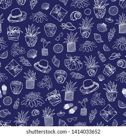 Vector indigo blue tropical beach resort spa repeat pattern with many elements. Suitable for gift wrap, textile and wallpaper.