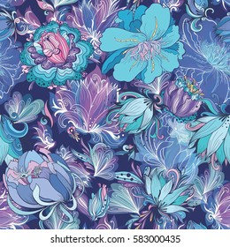 Vector Indigo Flower Pattern   Seamless floral texture with doodle lily, lotus and peonies on dark blue background