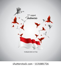 Vector Indonesia flag with origami birds.