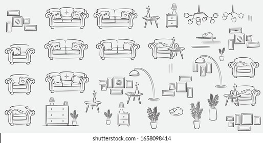 Vector indoor house sketch furniture and elements