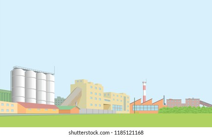 Vector. Industrial area of the city. Complex of production enterprises. All objects in separate layers.