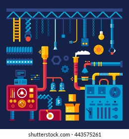 Vector industrial background. Set of abstract machines, gears, pipes, construction. Color bright cartoon flat design for banner, website, poster. Flat style vector illustration