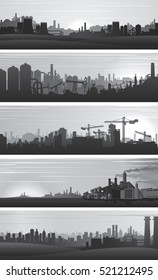 Vector Industrial Backgrounds, Urban Landscapes. Set of Banner, Header Web Templates. Black and White Vector.