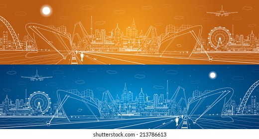 Vector industrial cargo port panorama, white lines landscape, night city, ship on the water