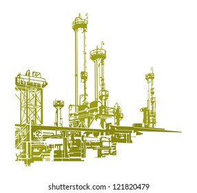 Vector Industrial Factory Refinery Silhouette