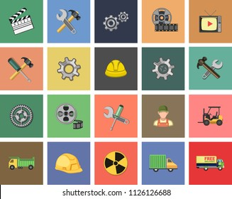 Vector industrial Icons set. industry, factory oil; construction; energy and production Icons - industrial sign symbol