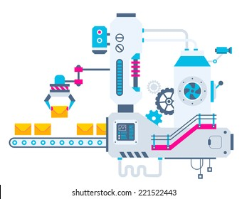 Vector industrial illustration background of the factory for sorting envelopes. Color bright flat design for banner, web, site, advertising, print, poster.
