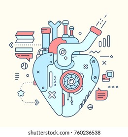 Vector industrial illustration of color mechanical motor heart. Surveillance of work of the heart mechanism. Line art flat style hand drawn design for banner, poster, valentine's day greeting card