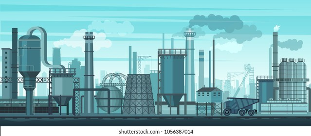 Vector industrial landscape background. Industry, factory and manufacture. Environment pollution problem.