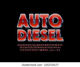 Vector industrial logo Auto Diesel with 3D metallic Font. Red and Silver Alphabet Letters, Numbers and Symbols.