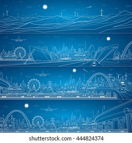 Vector industrial and transportation panoramic mega set, cargo port, night city, train on the bridge, vector lines landscape, night city, airplane fly, vector design art