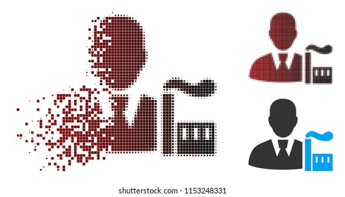 Vector industry capitalist icon in sparkle, dotted halftone and undamaged solid versions. Disappearing effect involves rectangular particles and horizontal gradient from red to black.