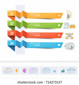 Vector Industry Chronology Infographics Arrows. Business Control, Modern Thin Line Icon Presentation Design. Internet of Things, Data Network, Future, Automation Illustration