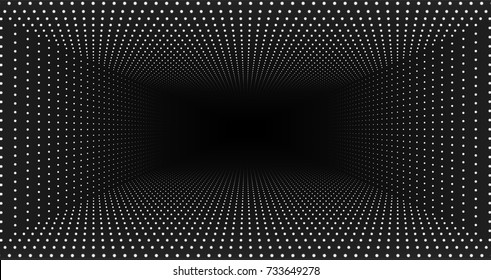 Vector infinite rectangular tunnel of shining flares on monochrome background. Glowing points form tunnel. Abstract cyber colorful background. Elegant modern geometric wallpaper. Shining points