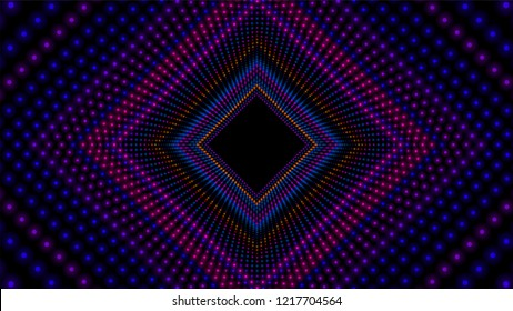 Vector infinite rhombic or square colorful tunnel of shining flares . Glowing points form tunnel sectors. Abstract cyber colorful background. Geometric infinite wallpaper. Retro disco backdrop.