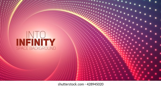 Vector infinite round twisted tunnel of shining flares on violet background. Glowing points form tunnel. Abstract cyber colorful background. Elegant modern geometric wallpaper. Shinig points swirl.