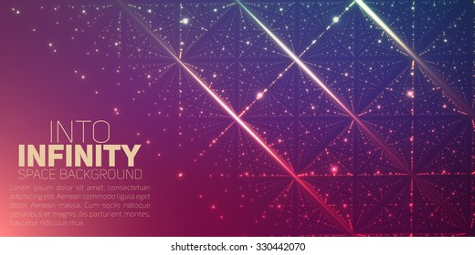 Vector infinite space background. Matrix of glowing stars with illusion of depth and perspective. Abstract futuristic universe on light background with place for text or logo. Nebula lattice.