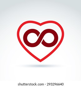 Vector infinity icon, eternal life idea.  Illustration of an eternity symbol placed on a red heart - love forever concept.
