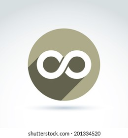 Vector infinity icon isolated on white background, illustration of an eternity symbol placed in a circle.
